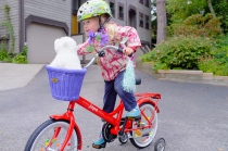 Her awesome 4th birthday bike, a Joppo that's still a little too big for her.